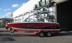 350 HP Indmar V-Drive Engine, Seating for 14, Tower, Tower Speakers, Tower Lights, Tower Mirror, Bimini Top, Board Racks, CD Stereo, Amp & Sub, Ski Pylon, Cruise Control, Pop-Up Cleats, Depth Finder, Interior Cup Holders, Heater, Snap-In Carpet, Ballast