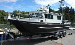 This beautiful model, manufactured here at Silver Streak in 2008, is a quiet, sleek and perfect boat for comfortably cruising and anchoring overnight. Fully insulated and outfitted with a dinette, kitchenette, sleeping area and marine head, this boat is