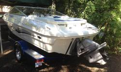 2008 Larson 180 Sport 95th Anniversary Edition 135 hp Volvo Penta Snap in carpet Front seats fold up for over the windshield view Color matched trailer with electric surge brakes No maintenance sealed hubs Trailer mounted retractable rear hold down