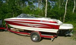 2008 Larson LXI 180. Includes 4.3L Volvo Penta 190 HP, captains chairs, removable carpet, large swim platform, depth finder, bimini top, 5 blade SS prop, day and travel tarp, matching trailer. Stored inside. Aprox 20 hrs. Call Sheldon at 403-548-9845 or