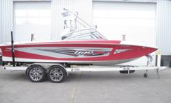 Surf & Wakeboard all day long with a 360 HP 5.7L MerCruiser V-Drive Engine, Tower, Tower Speakers, Bimini Top, Tower Mirror, Stereo, Open Bow, Pop-Up Cleats, Ski Pylon, Rear Remote, Docking Lights, Towable Cover and Metal Craft Tandem Axle Trailer with
