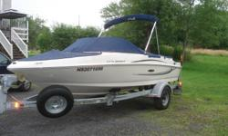 Has 60 Hrs. Comes With Top,And Covers,Has Depth Sounder,Stereo,Power Steering,Full Snap In Carpeting, Bought accesories Spare Tire And Wheel, Two Steps ON Trailer,All Safety Equipment, Including Life Jackets,Anchor,Fire Extiquisher, Flashlight And Other