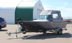 **LIMITED TIME OFFER** REGULAR: $28,995 -$6,000 SAVINGS! POWER-UP SAVINGS: $22,995 w/Mercury 75hp 4-stroke INCLUDES: Bimini Top w/Full Enclosure and Bow Cover, and Rockguard on Trailer! ONLY 29.5 Hours! *Offer Expires End of Month Standard Features