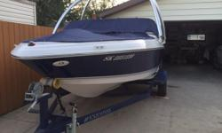 2010 17.5' Blue and White Four Winns. 3.0 inboard Mercruiser motor with TKS. Great Condition. Four Winns trailer and Monster wakeboard tower. Trailer has new tires. Upgraded prop and stereo. Depth finder. Ladder, spare tire, safety kit, oars, bumpers, and