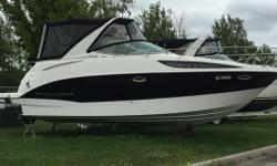 This Bayliner has been taken care of and is in great shape. Very comfortable with plenty of space. Includes the following: Heat/Air; Camper Canvas; Rear Rail Mount BBQ; Sun Pad; Corian Counter Top; Extended Swim Platform; Garmin GPS; VHF; White & Black