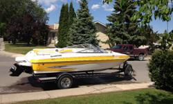 Excellent condition runs like new, only used 45 hours. Inboard 4.3 L mercruiser and EZ loader trailer. Large padded sun lounge, extended swim platform. Easy switchover to fishing mode with casting platform, dual swivel chairs, aerated live well with rod