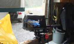 "I have a Tohatsu (Mercury) 4 hp fourstroke outboard for sale. Motor is new, used once. Has an integral gas tank with the option to connect a typical outboard gas container. This is a short shaft model (15""). Super smooth and quiet. Bought a larger motor,"