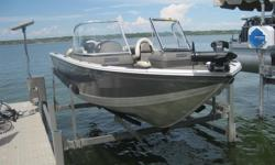 Includes a 2012 Mercury 115 XL Optimax 2 stroke motor, and a 2012 Shore lander Boat Trailer. Several storage compartments, and in floor storage. Rod holder, carpeted floors, 4 chairs which can be moved around to maximize fishing opportunities, fold down