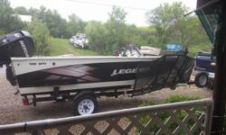 Looking to trade 2012 Legend 16 XTI great fishing boat comes with three seats, bow mount trolling motor, livewell and baitwell, fish finder and 60hp Mercury four stroke engine and storage tarp. Has breakaway tounge on trailer, trailer tux to protect boat