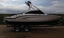 lvo Penta 4.3L GXi SX 225 HP inboard engine, stainless steel prop, wakeboard tower with Bimini top. This 196 SSi Wide Tec boat has the Premium Package and is loaded with tons of features including docking lights, pull up cleats (8 including the swim
