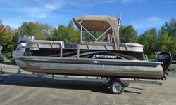 2013 Legend Genesis This 2013 gently used pontoon boat is a great entry level boat. It comes with bench seating, sink and cold water, bimini top with a day enclosure, full tonneau cover , a stereo, a ladder, depth finder, a battery and carpets. This boat