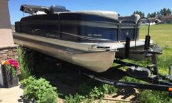 2014 Premier Gemini 221 pontoon. Has a 115hp Evinrude 2 stroke motor. Change room with portable toilet. 11 person capacity. 2' swim platform on the back. Fishing chairs with a live well. Comes with the trailer. Bimini top