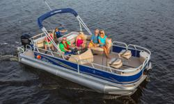 """**LIMITED TIME OFFER** REGULAR: $43,995 $6000 SAVINGS! POWER-UP SAVINGS: $37,995 w/90 ELPT 4S INCLUDES: Upgraded Cover & Fishfinder PLUS, Sun Tracker 10+Life Warranty """"The Best Warranty in the Pontoon Business"""" Features NEW marine-grade, UV-resistant"""