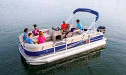 """**LIMITED TIME OFFER** REGULAR: $34,995 $2000 SAVINGS! POWER-UP SAVINGS: $32,995 w/2015 60 ELPT 4S CT on BlackCherry Pontoon INCLUDES: Upgraded Cover & Fishfinder PLUS, Sun Tracker 10+Life Warranty """"The Best Warranty in the Pontoon Business"""" *Offer"""