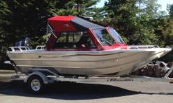 Boat info: 2014 Thunder Jet Hawk XL 18.5ft HalfHard Top with EZ Loader Trailer + Disc Brakes + Side Loading Guide Rails. 2014 Suzuki 115hp 4 stroke main + 2014 Mercury 4 stroke 8hp kicker. Only 40 hours on motor, extremely well maintained. Incl options: