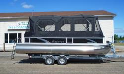 "All standard features PLUS: Yamaha T60 High Thrust 4 Stroke Change Room Stereo/MP3 w/ 2 Additional Speakers LED Toe Kick Lights Full Camper Top w/ Double Bimini Length: 22'5"" Width: 8'6"" Max. HP: 115 Fuel capacity: 21 gallon PersonCapacity: 11 Motor:"