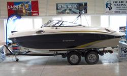 All Standard Features Plus: Volvo 270 hp 5.0 GXi Snap-in Carpets, Aft Filler Cushion Digital Depth Finder w/Depth Alarm Pump Out Head, Bolster Seats Stereo, Transom Trim Switch Bimini Top, Bow and Cockpit Covers EZ Loader Tandem Trailer w/Swing Tongue,