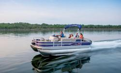 """**LIMITED TIME OFFER** REGULAR: $48,995 - $4000 CASH REBATE = $44,995 w/115 ELPT Command Thrust LIMITED TIME BONUS: Upgraded Cover & Fishfinder! Includes Sun Tracker 10+Life Warranty """"The Best Warranty in the Pontoon Business""""! *Offer Expires End of"""