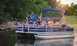"""**LIMITED TIME OFFER** REGULAR: $48,995 - $4000 CASH REBATE = $44,995 w/115 ELPT Command Thrust LIMITED TIME BONUS: Upgraded Cover & Fishfinder! Includes Sun Tracker 10+Life Warranty """"The Best Warranty in the Pontoon Business""""! Features 3 high-performance"""