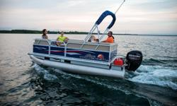 The most compact PARTY BARGE is ready to bring the fun to the lake with a crew of up to 7. The first thing you'll notice after boarding are the 3 luxurious lounges?each wrapped in a durable and UV-resistant, hand-crafted 26 oz. vinyl. And you'll find