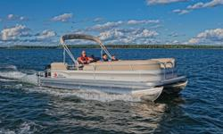 """**LIMITED TIME OFFER** REGULAR: $48,995 - $4000 CASH ALTERNATIVE = $44,995 w/90 ELPT 4Stroke LIMITED TIME BONUS: Upgraded Cover & Fishfinder! Includes Sun Tracker 10+Life Warranty """"The Best Warranty in the Pontoon Business""""! Features NEW console style"""