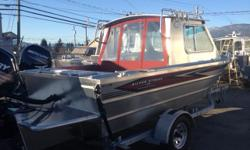 Package Includes: Mercury 115XL 4ST EFI / Highliner Galv. Trailer / Fully Welded Hard Top w/ 2 Piece Aft Leaning Windshield / 2 Aluminum Sliding Glass Windows / Bow Locker Under Dash / Low Profile Bow Railing / 20 Imp Gal. Fuel Tank / Fully Welded Chines