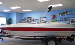 """All Standard Features Plus: Mercruiser 130 hp 3.0 TKS Bluetooth Stereo with MP3/Aux Port Helm Seat Slider Transom Trim Switch Manual/Auto Bilge Pump Bimini Top, Bow and Cockpit Covers EZ Loader Trailer w/Swing Tongue & Chrome Rims Length Overall: 18'0"""""""
