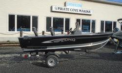 "2019 Lund 1400 Fury SS - LF747 Price includes all standard features plus: Mercury 25 ELPT Complete Vinyl floor Fuel Tank Hider Windscreen Pre-wired for Bow Mount Trolling Motor LundGuard Trailer with Load Guides Length: 14'9"" Beam: 69.5"" Transom: 20"""