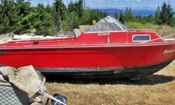 Heavily built fiberglass project boat. 20' cuddy with windshield and fuel tank. Everything else has been removed in preparation for podding. It's a project that I just don't have time for. There's no trailer and I can't deliver.
