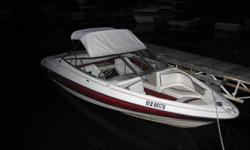 This is a great boat, I/O with a 4 cylinder 3.0L engine for 135 horses, Mercury unit. Winterized and stored indoors every year(has never seen snow). Radio, 4 speakers and two amps, 2 batteries. Very low usage. Will sell with the trailer, a 2000 EZ-Loader