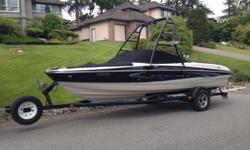 This 20 foot limited edition Bayliner, is in pristine condition. It has a 5 liter Merc engine, and stainless steel prop, front bowrider, and only 175 hours.It is serviced 2 times per year and is stored indoors when not in use. Please call to view, you