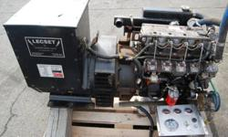 Only 7137.5 hours on this well maintained 20Kw generator set consisting of an Isuzu diesel engine model 4LE1 (manufactures date 08/99) and a Stamford generator model UCI224C (needs rewinding) wired single phase 12/240 volts. Isuzu Marine engine package