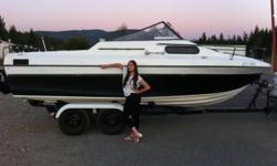A nice boat, made in Canada, 230hp  302 ford OMC motor. OMC-800 leg. Sleeps 2 comfortable. Refrigerator. Trailer. Motor runs like a clock . 8700 - OBO, needs to be sold. No place to keep. Offers. Video is here. http://www.youtube.com/watch?v=ilzFJEG0zYI
