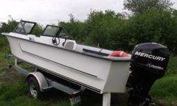 21' Atlantic V hull speed boat. Has walk thru windshield, 2 swivel seats, 2 bench seats, 12V plug in, steering and controls. Motor is a 90hp Mercury Optimax, power tilt and trim, with about 20 hours. Trailer is a 2600lb Venture. Package is all brand new