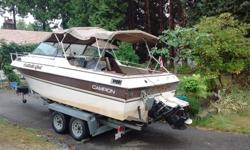 in very good condition, no leaks, engine runs smooth as new, mercruiser 470 hp 4 cylinder very good on fuel and planes easily, has trim tabs, swim grib, kicker bracket, interior like new, must be seen, cuddy cabin , sleeper seats. Has GPS/FIshfinger/Depth