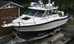 (1987) 21 ft Bayliner Trophy Hard Top (with Alaskan bulkhead). - Podded, incl kicker mount and Swim platform / ladder (24 ft LOA). - 200 HP Evinrude FICHT (2001 / 2 stroke 1st gen E-Tec). Low hours, incl computer diagnostic cable and software). - 8 HP