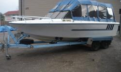 21 FT LARSON BOAT, NEW SEATS, NEW FULL EXTRA HIGH CANOPY, 188 HP 302 ENGINE, VERY WELL KEPT BOAT THAT RUNS AWESOME, HEAVY DUTY TANDEM TRAILER, GREAT FAMILY BOAT. $4800, OR SLED AND CASH, INTERESTING TRADES ??? CALL 807-707-1796
