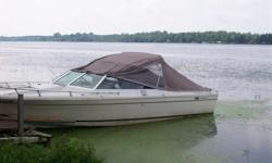 great boat for fishing ,cruising camping,skiing, etc. comes with 6 seats-- 2 new 6 way adjustable and 2 new swivel seats and 2 fixed seats .sleeps 2+ in bow [4 if you're really good friends] .boat is good shape. comes with canopy cover w/side and rear