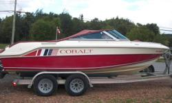 nice boat with a aluminum trailer. it runs good overall in good shapr for the year. reason for selling i want a bigger boat. the boat is not bad on gas . it goes 52 mph on gps.the boat is 8 ft wide rides nice up and gone.it got the top bikni.two newer