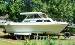 22' Glas Ply cabin cruiser on 4 wheel EZ Loader trailer. Both in great condition, ready to fish, needs nothing. Built in Washington state for west coast waters. All fiberglass, no wood stringers. Mercruiser inboard/outboard with 305 Chevy engine and