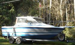 22' Bayliner, trophy class, with Alaska cabin, Head, kitchen, bunks would sleep 4, 4 cyl. I/o, comes with 20 hp Merc kicker. gps chart plotter. depth sounder marine radios, heater. This is a very fuel efficient vessel with an excellent hull, Galavanized