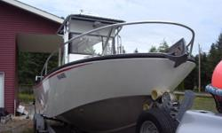 """22' ironwood welded aluminum. 225 yamaha and new 9.9 yamaha. custom t-top with 50"""" wide console full windshield electronics box. raymarine electronics,anchor pack with helm control. no slip flush deck,75 gallon fuel tank,80psi washdown. dual batteries"""