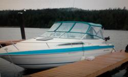 23' Wellcraft Excel, comes with good galvanized tandem trailer, new Lowrance HDS 7 chart plotter/fish finder that is RADAR compatible, with remote steer. This boat is awesome in rough water and smooth in calm water, sleeps 4 comfortably, aft cabin (no