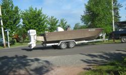 Single skin constructed F/G  hull, 23 ft. x 8 ft wide. Strong and powerfull unit driven with twin 1998, 150 hp. Oceanrunners, mounted on an aluminum transom extension. Engines were rebuilt top and bottom with very low hours, and seller will certify.
