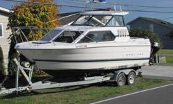 Very Clean,well Kept boat,Professionally serviced and was just repowered with factory new motor 350hp , stored dry and under cover, 5.7L Mercruiser with 3 hours on motor and 400 on boat. lots of power crusies 28 mph at 3600 rpm. 15 HP Suzuki 4-stroke