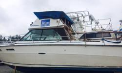 1977 24' SeaRay with command bridge dual station. Volvo AQ200 Engine and Volvo AQ280 Leg, 152.8 hours on replaced Target master 350 engine. 9.9 mercury kicker with less than 10hours Hydraulic steering, ice box, marine head (separate bathroom) with holding