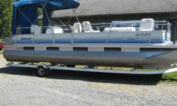 2000 - 24 ft. Princecraft Voyageur pontoon boat 50 hp Evinrude outboard motor 9.9 hp Mercury outboard motor Brand new carpeting Brand new seats Fold down futon couch 2 tables All furniture is removable Seats 10 comfortably Enclosed washroom Comes with