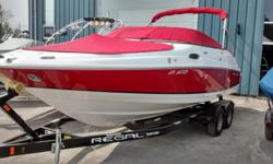 Red Hull with Red Bimini Canvas in Very Good Condition 2015 Phoenix Special Edition dual axel trailer Full instrumentation dash with Faria Gauges Dual battery switch Stainless bow scuff plate Stainless bow ladder Bow walk thru door Cockpit snap in carpet