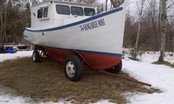 The boat is fiberglass over wood, good 292 chev, wet exhaust, needs floor and cabin fixed, yard trailer is there but needs work, i would take $2500 cash for it or trade it for a plow truck or something interesting like a good four wheeler or motorized
