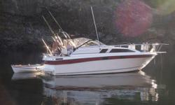 1985 2750 Bayliner sun bridge. has Volvo 350 duo prop,vhf,gps,compass,8ft tender , full camper canvas , hot water, two burner stove ,holding tank new macerator pump and many more new parts. shower this is a turn key boat. also have brand new 10,000 lb